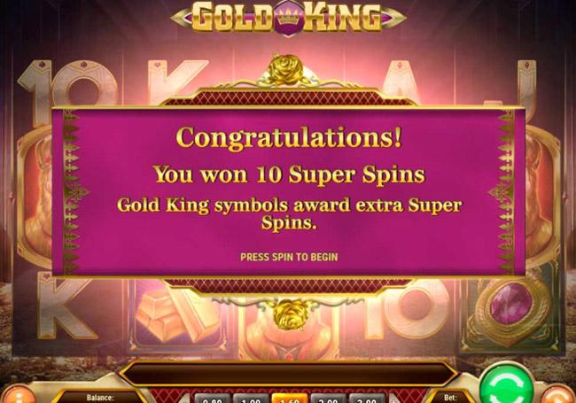 gold king slot featur